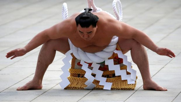 Mongolian-born grand sumo champion Yokozuna Harumafuji performs the New Year's ring-entering rite at the annual celebration for the New Year at Meiji Shrine in Tokyo. Photograph: Issei Kato/Reuters