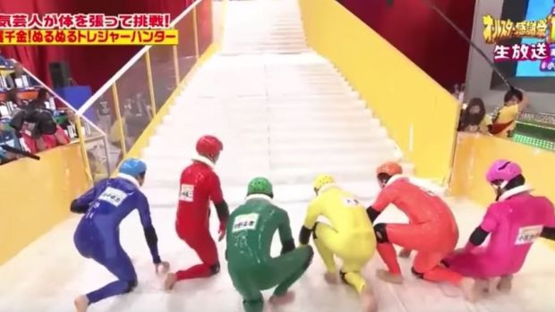 Japanese game show 'Slippery Stairs' is the ultimate distraction from your darkest thoughts.