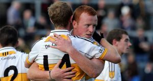 Colm Cooper and Johnny Buckley of Dr Crokes  at the end of the Kerry county club  final against Austin Stacks  in  Killarney. Photograph: Donall Farmer/Inpho
