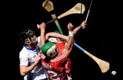 Shane Kingston and Patrick Horgan of Cork in action against Barry Coughlan of Waterford during the Munster semi-final  at Semple Stadium.  Photo: Piaras O Midheach/Sportsfile via Getty Images