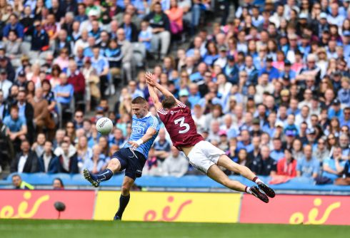 Eoghan O'Gara of Dublin in action against Kevin Maguire of Westmeath during the Leinster semi-final at Croke Park. Photograph: Eoin Noonan/Sportsfile via Getty Images