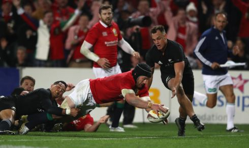 Sean O'Brien of the Lions scores his try during the first Test match between New Zealand and the British & Irish Lions at Eden Park.  Photo; David Rogers/Getty Images