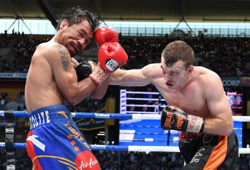 Jeff Horn hits Manny Pacquiao during their fight in July.  Photograph: Dave Hunt/AAP via  Reuters