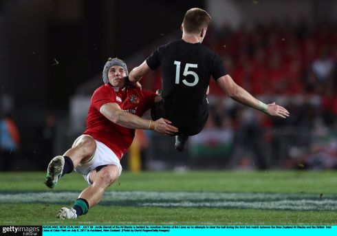 Jordie Barrett of the All Blacks is tackled by Jonathan Davies of the Lions in the drawn third Test. Photo:  David Rogers/Getty Images