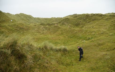 Hideki Matsuyama finds himself off the beaten track during the second round of the Irish Open at Portstewart.  Photo: Ross Kinnaird/Getty Images