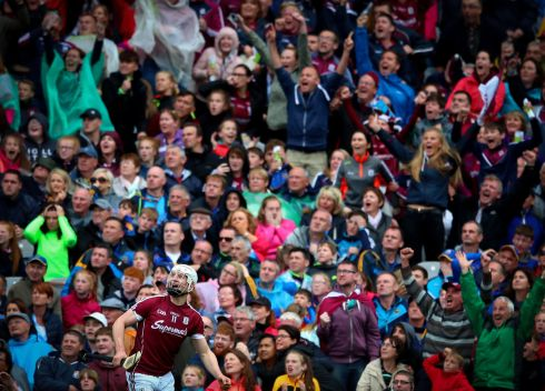 Galway's Joe Canning looks on as his late wonder point wins the semi-final against Tipperary. Photograph: James Crombie/Inpho