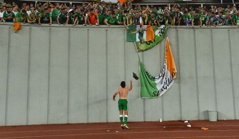 Shane Long of Republic of Ireland throws his jersey to supporters in Tbilisi. Photo: David Maher/Sportsfile via Getty Images