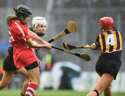 Julia White of Cork scores the winning point in injury time during the All-Ireland Camogie final between Cork and Kilkenny at Croke Park. Photo: Matt Browne/Sportsfile via Getty Images
