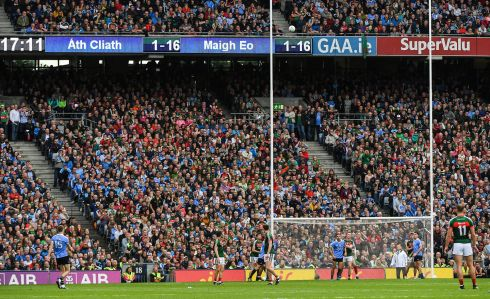 Dean Rock kicks the winning point during the All-Ireland final between Dublin and Mayo at Croke Park. Photo: Ray McManus/Sportsfile via Getty Images