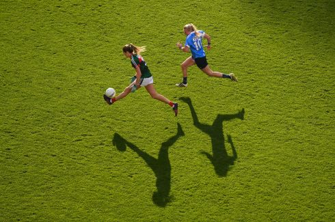 Grace Kelly of Mayo in action against Carla Rowe of Dublin during the Ladies All-Ireland football final at Croke Park. Photo: Stephen McCarthy/Sportsfile