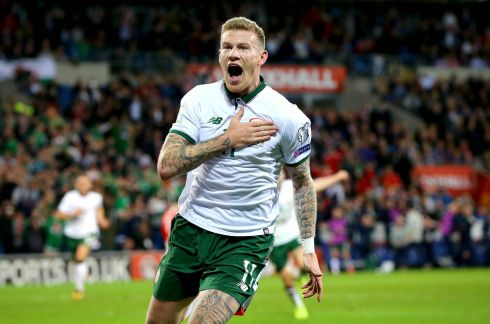 Ireland's James McClean celebrates scoring the winning goal against Wales in Cardiff. Photograph: Ryan Byrne/Inpho