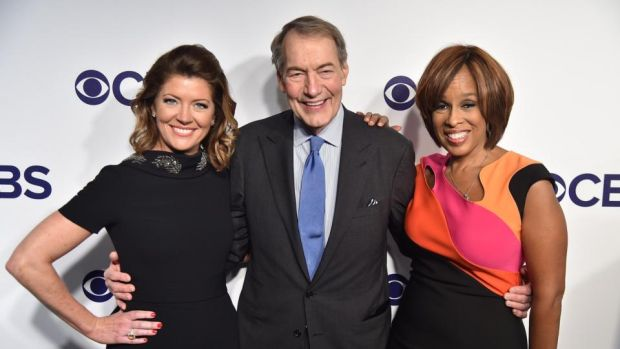 Charlie Rose: the fired anchor with his CBS This Morning copresenters Norah O'Donnell and Gayle King. Photograph: Theo Wargo/Getty