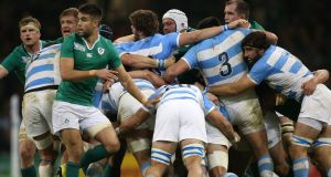 Connor Murray next to the scrum during Ireland's defeat to Argentina in the 2015 Rugby World Cup quarter-finals. Photograph: Billy Stickland/Inpho