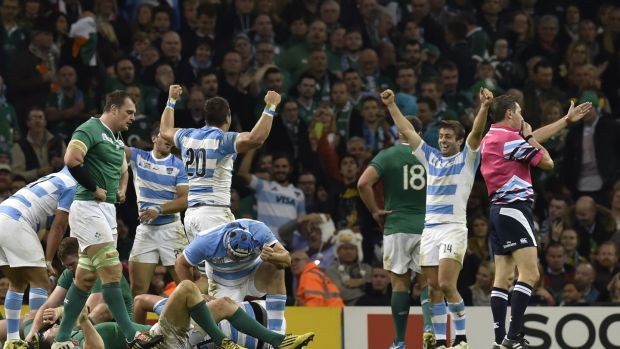 Argentina celebrate as they defeat Ireland in the 2015 Rugby World Cup quarter-final in Cardiff in October 2015. Photograph: Loic Venance/AFP/Getty Images
