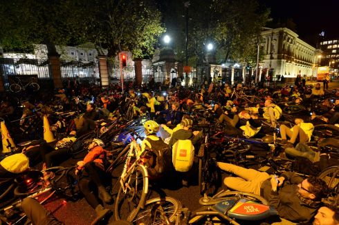ALL STOP: Cyclists lying on the road during a Stop Killing Cyclists, Vigil and Demonstration   organised by various Dublin cycling groups, outside the Dail, Kildare Street,  Dublin. Photograph: Dara Mac Donaill / The Irish Times           Photograph: Dara Mac Donaill / The Irish Times