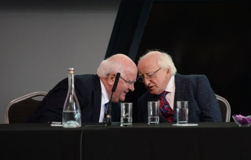 RECONNECTING PEOPLE: President Michael D Higgins (right) delivered the keynote address at the Social Justice Ireland policy conference, entitled Society Matters: Reconnecting People and the State. He is pictured with SJI chief executive Sean Healy. Photograph: Dara Mac Dónaill/The Irish Times
