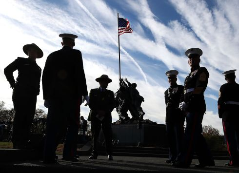 WAR MEMORIAL: US Marines and National Park Service employees gather at the newly restored Iwo Jima US Marine Corps War Memorial, in Arlington, Virginia. Photograph: Mark Wilson/Getty Images