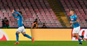 Napoli's Lorenzo Insigne celebrates his goal in their Champions League win over Shakhtar Donetsk. Photo: Andreas Solaro/Getty Images