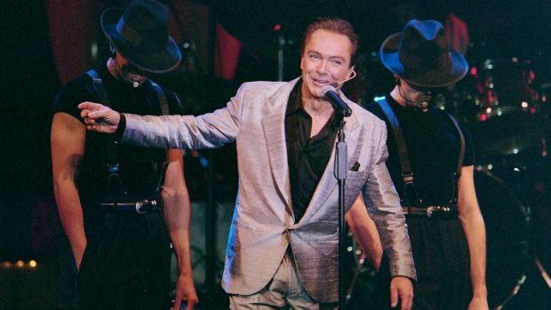 David Cassidy performing during the opening of his show 'At the Copa' in in Las Vegas, February 2000. Photograph: Glenn Pinkerton/ LVNB via EPA