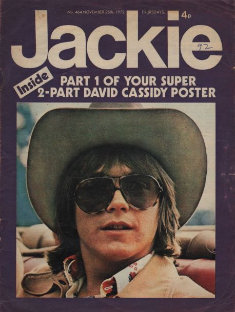 A cover from Jackie magazine, which offered a full-size poster of the star over three issues