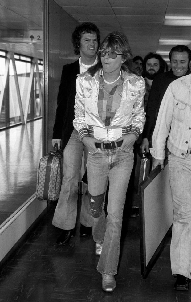 Pop star David Cassidy, who has died aged 67, arriving at Heathrow Airport in London for his a concert tour in May 1974. Photograph: PA