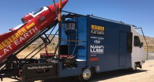 "The rocket-build project cost $20,000, including Rust-Oleum paint to decorate it with the words ""Research Flat Earth"". Photograph: madmikehughes.com"