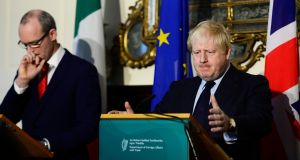 Minister for Foreign Affairs Simon Coveney with Boris Johnson in Dublin: The visit of UK foreign secretary last Friday exposed the hollowness of the British claims that they want to avoid a hard Border. Photograph: Cyril Byrne