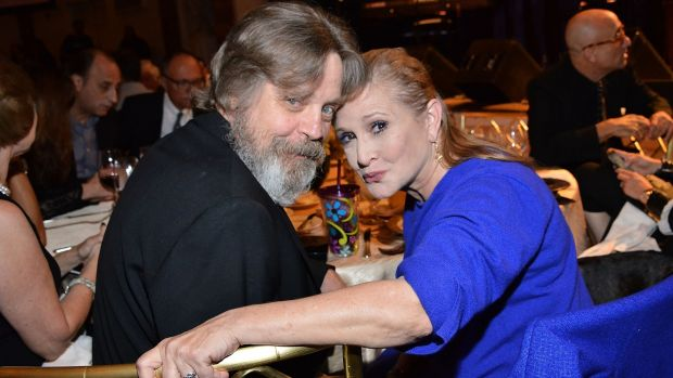 "Mark Hamill with Carrie Fisher, who died last December. ""I'm still in denial. I still think of her in the present tense."" Photograph: Araya Diaz/Getty Images"