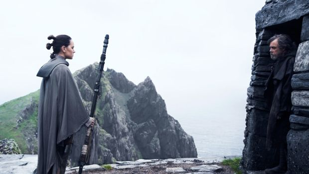 "Daisy Ridley and Mark Hamill in Star Wars: The Last Jedi. ""If I have to walk up Skellig Michael, I'm staying. I just need a tent."""