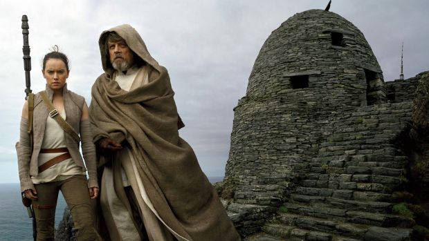 Daisy Ridley and Mark Hamill on Skellig Michael in a scene from Star Wars: The Last Jedi