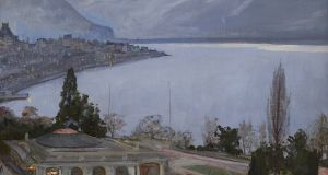 A view of Lake Geneva entitled 'Evening, Montreux' by Sir John Lavery