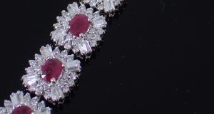 Ruby and diamond cluster bracelet from John Weldon Auctioneers (Lot 149, estimate €4,500 to €5,500)