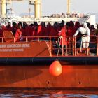 A Spanish Maritime Rescue ship carrying the 90 rescued migrants arrives at the port of Almeria, Spain, last week. Photograph: Carlos Barba/EPA