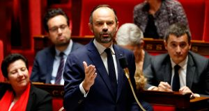 French prime minister Edouard Philippe addresses a session of questions to the government, at the National Assembly in Paris, on Wednesday. Photograph: Francois Guillot/AFP/Getty Images