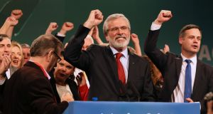 "Sinn Féin leader Gerry Adams at the party's ardfheis in Dublin last weekend. Shortly after the attack in 1983, Adams said Charlie Armstrong was a ""perfectly legitimate"" target.  Photograph: Paul Faith/AFP/Getty Images"