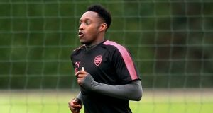 Arsenal's Danny Welbeck during  training ahead of his side's Champions League group stage clash with FC Cologne. Photograph: Paul Harding/PA Wire