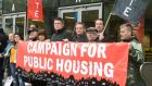 Members of the Campaign for Public Housing  protesting  outside the  residential property summit in Dublin. Photograph: Alan Betson
