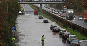 Heavy flooding on the N3 at Junction 2, Blanchardstown Centre on Wednesday afternoon after heavy rain caused the River Tolka to burst its banks. Photograph: Colin Keegan/Collins