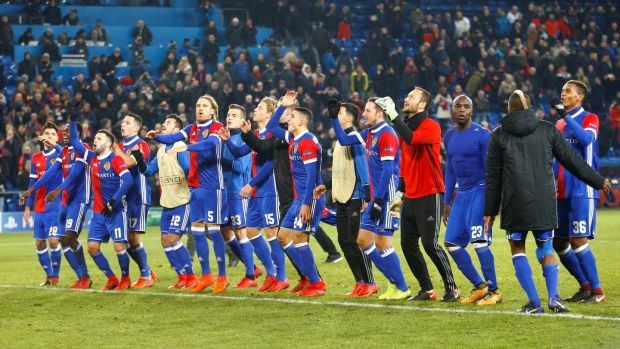 Basel celebrate at the final whistle. Photo: Arnd Wiegmann/Reuters