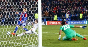 Basel's Michael Lang scores the winner in their Champions League clash with Manchester United. Photo: Arnd Wiegmann/Reuters