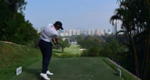 Paul Dunne of Ireland pictured during round one of the UBS Hong Kong Open. Photograph: Arep Kulal/Getty Images
