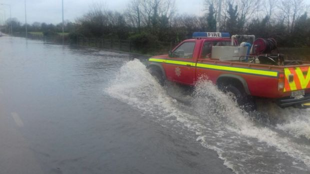Dozens of families have been evacuated from their homes in Co Laois. Photograph: Laois Fire and Rescue Twitter account