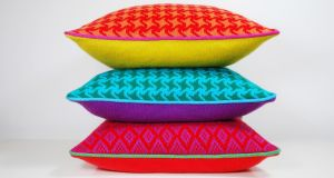 Textile designer Michi's vibrant knitted cushions in lambswool, (€75).