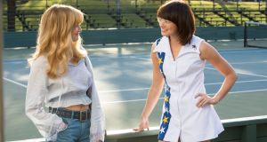 Andrea Riseborough (left) as Marilyn Barnett and Emma Stone as Billie Jean King in the film Battle of the Sexes. Photograph: Melinda Sue Gordon/Twentieth Century Fox Film Corporation