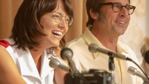 "Emma Stone as ""Billie Jean King"" and Steve Carell as ""Bobby Riggs"" in Battle of the Sexes. Photograph: Melinda Sue Gordon"
