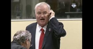 A screen grab  from  video provided by the International Criminal Tribunal for Former Yugoslavia (ICTY) shows former Bosnian Serb military chief Ratko Mladic shouting at the presiding judge during the verdict hearing in his genocide trial, in The Hague. Mladic has been sentenced to life in prison. Photograph: EPA