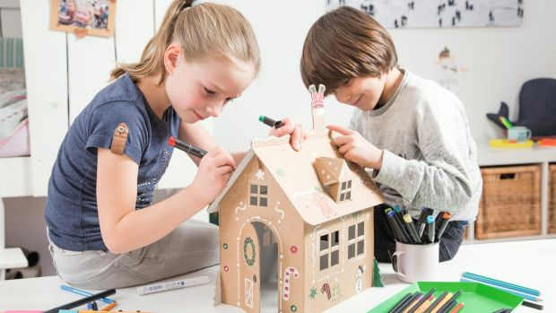A Hansel and Gretel house made of brown cardboard and designed to be blank costs €24.50, comes flat-packed and is available at Ranelagh-based CA Design.