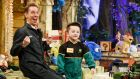 Ryan Tubridy during last year's Late Late Toy Show with toy tester Darragh Malone from Castlewellan, Co Down. Photograph: Andres Poveda