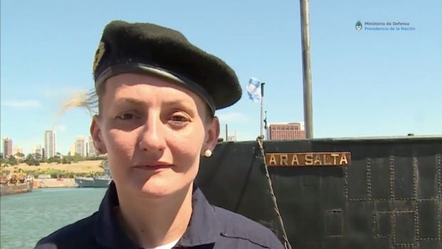 Eliana María Krawczyk, a submarine officer on board the Argentine navy submarine ARA San Juan, which went missing in the South Atlantic, in a still image taken from a Ministry of Defence of Argentina video. File photograph: Ministerio de Defensa de Argentina/Reuters