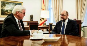 President Frank-Walter Steinmeier meets SPD leader Martin Schulz. Photograph: Jesco Denzel /Government's Press Office